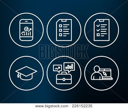 Set Of Interview, Smartphone Statistics And Checklist Icons. Graduation Cap, Business Portfolio And