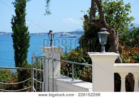 The Sea View And Modern Yacht, Corfu Island, Greece