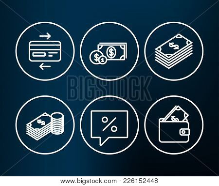 Set Of Credit Card, Dollar Money And Discount Message Icons. Savings, Dollar And Wallet Signs. Bank