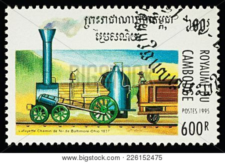 Moscow, Russia - February 11, 2018: A Stamp Printed In Cambodia, Shows Old Locomotive
