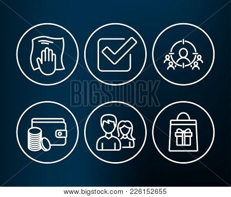 Set Of Checkbox, Payment Method And Washing Cloth Icons. Couple, Business Targeting And Holidays Sho