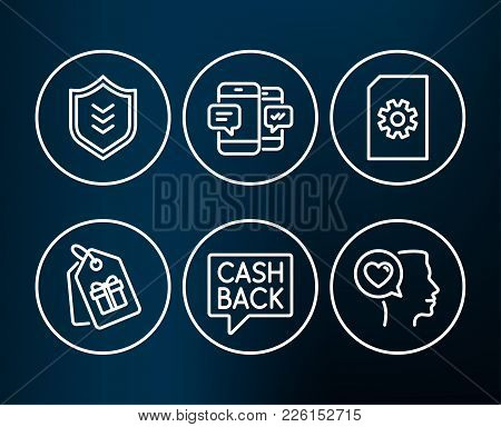 Set Of File Management, Smartphone Sms And Money Transfer Icons. Shield, Coupons And Romantic Talk S