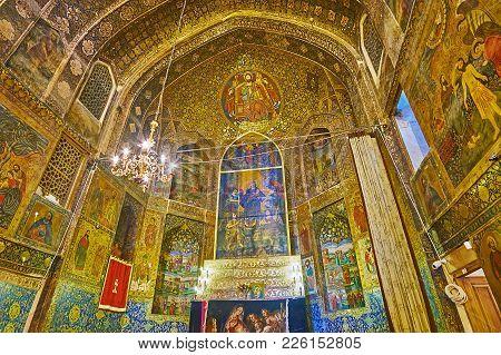 Isfahan, Iran - October 20,2017: The  Armenian Orthodox Bethlehem Church In New Julfa Is One Of The