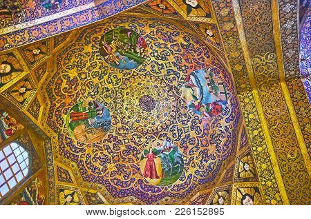 Isfahan, Iran - October 20,2017: The Fine Golden Ornament Covers Cupola Of Holy Savior Cathedral (su