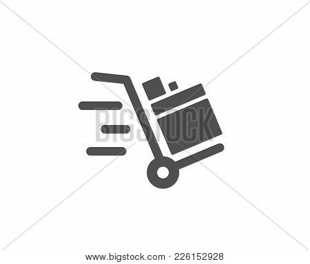 Push Cart Simple Icon. Delivery Service Sign. Express Shipping Symbol. Quality Design Elements. Clas