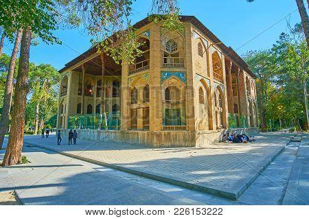 Isfahan, Iran - October 20, 2017: The  Hasht Behesht Palace Is The Notable Medieval Landmark Of Safa
