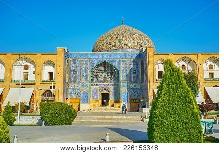Isfahan, Iran - October 20, 2017: The Scenic Naqsh-e Jahan Square With Beautiful Portal And Dome Of