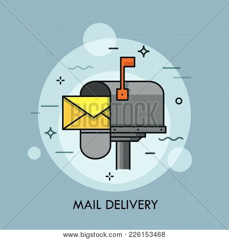 Yellow Envelope In Opened Mailbox. Express Mail Delivery, Courier And Postal Service, Postage And Sp