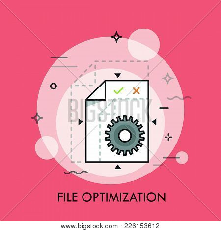 Sheet Of Paper And Gear Wheel. File Optimization, Lossless Compression, Size Reduction, Format Conve