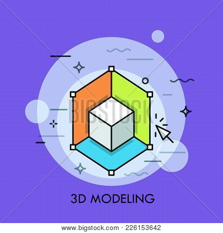 White Cube And Cursor. 3d Or Three-dimensional Modeling, Rendering, Printing, Computer Graphics Soft