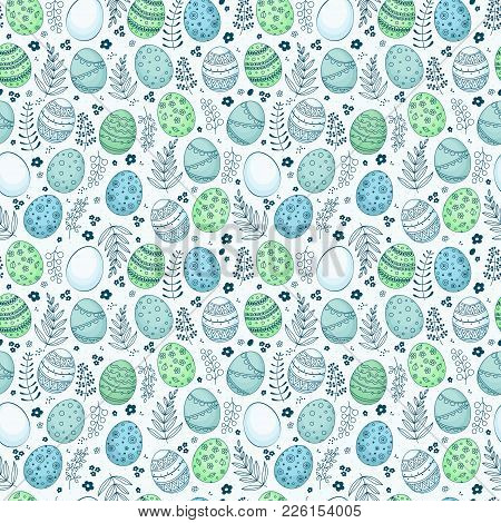 Seamless Easter Pattern With Doodle Ornamental Eggs And Floral Motifs. Vintage Spring Easter Holiday