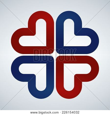 Four Hearts Social Vector Symbol. Red And Blue. Heart Cross Logotype. Abstract Flower Leaf