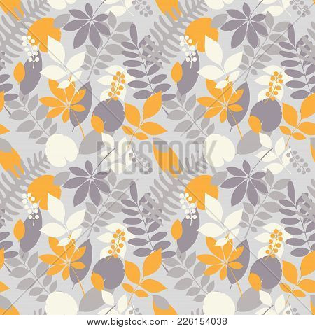 Tropical Jungle Trendy Seamless Pattern With Exotic Palm Leaves And Berries, Leaf Branches. Vector S
