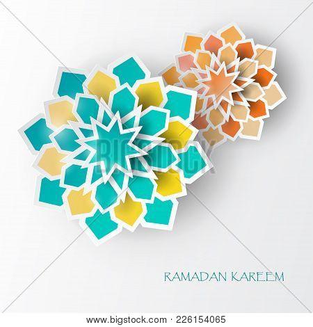 Greeting Card With Intricate Arabic Paper Graphic Of Islamic Geometric Art. Ramadan Kareem Is The Na