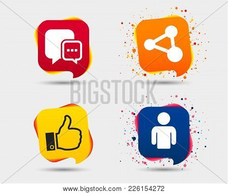 Social Media Icons. Chat Speech Bubble And Share Link Symbols. Like Thumb Up Finger Sign. Human Pers