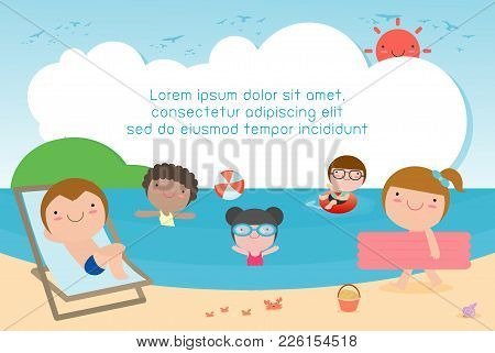Kids On The Beach , Children Playing On The Beach, Template For Advertising Brochure, Kids Time, Chi