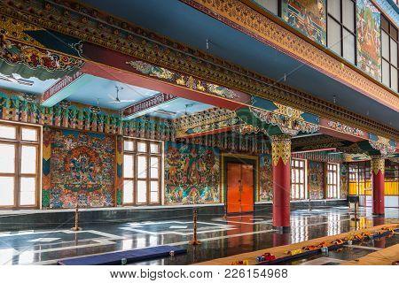 Coorg, India - October 29, 2013: Inside Padmasambhava Vihara Of Namdroling Buddhist Monastery. Left