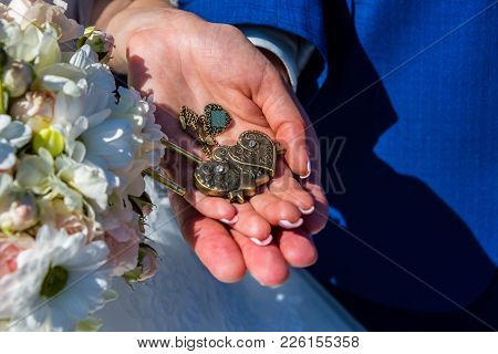Wedding Keys In The Hands Of The Bride And Groom