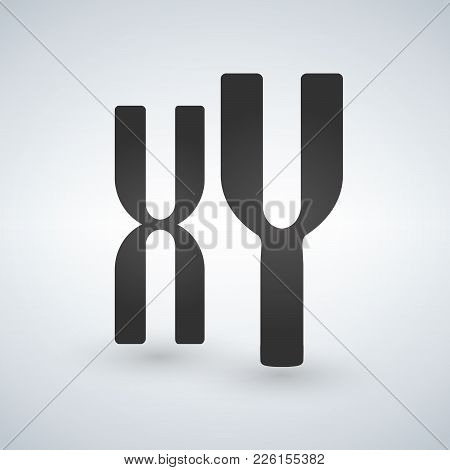 Xy Man And Woman Chromosomes Vector Icon. Style Is Flat Symbol, Grey Color, Isolated On White Backgr