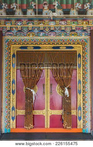 Coorg, India - October 29, 2013: Inside Padmasambhava Vihara Of Namdroling Buddhist Monastery. Decor