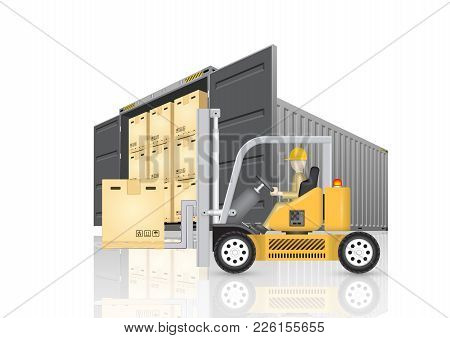 Forklift Working With Cargo Container And Product Carton Box Isolate On White Background For Shippin
