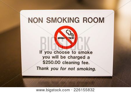 No Smoking Room Sign Warning With Fee Info