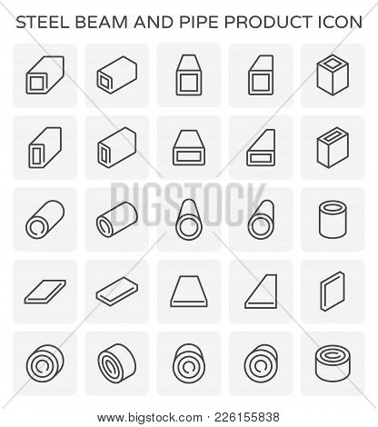 Vector Icon Of Steel Beam And Pipe Product Set.