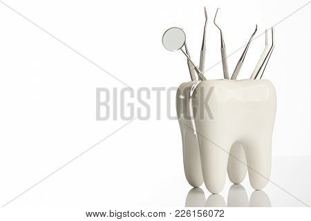 Tooth Model With Metal Medical Dentistry Equipment Tools For Teeth Dental Care Isolated On White Bac