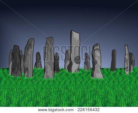Gray Callanish Stones On A Background Of A Dark Sky And Bright Green Dense Grass. Vector Illustratio