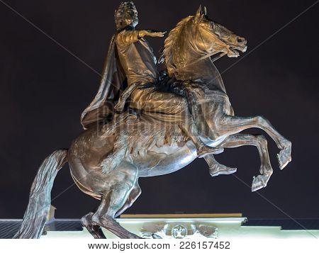 St. Petersburg, Russia - December 22, 2017: The Bronze Horseman - Equestrian Statue Of Peter I In St