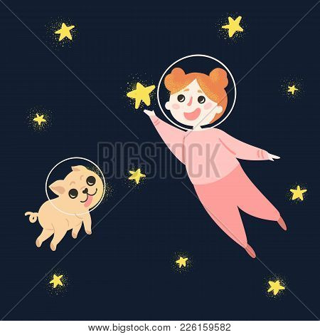 Young Girl With Her Dog In Space, Wearing Spacesuit Helmets And Pajama. Child Is Holding Star In Han