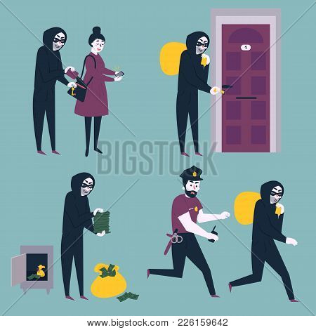 Set Of Situations. Thief, Robber And Burglar Trying To Steal Money From Woman Citizen, Break In The