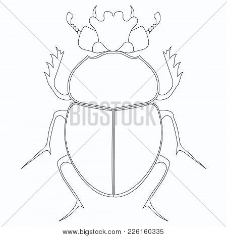 Coloring Vector Illustration. Egyptian Scarab Beetle. Large Insect
