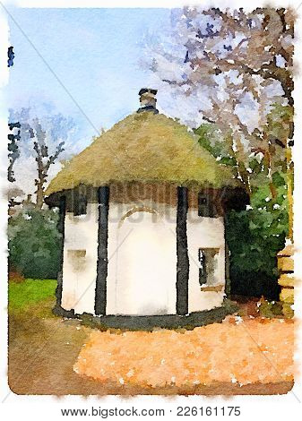 Digital Watercolor Painting Of A Beautiful Small House With A Thatched Roof With Windows. With Blue