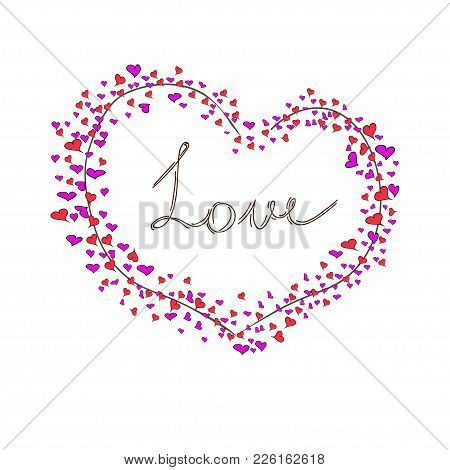 Vector Greeting Card With Big Heart And Lettering Love, Hand Drawn.