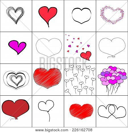 Vector Simple Illustration Hearts Set, Baloons, Embroidery, Black And White Hand Drawn. Seamless Pat