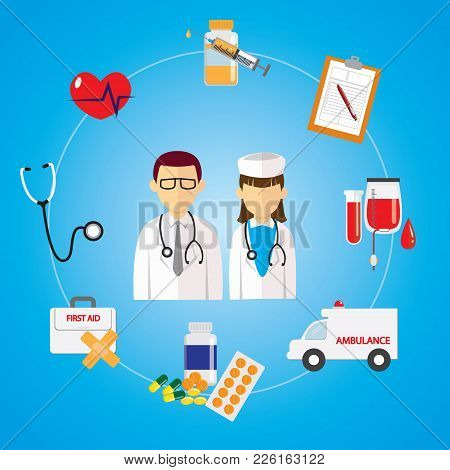 Vector Illustration Of Medical Occupation Doctor And Nurse With Healthcare Medic Equipment Icons