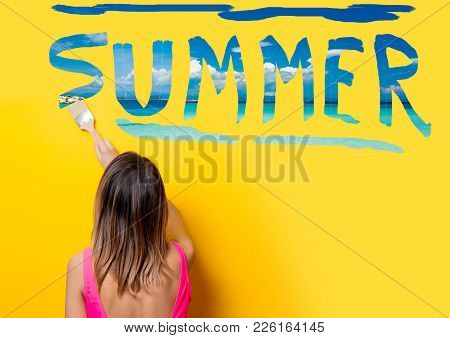 Girl Painting Dreaming Summer Vacation