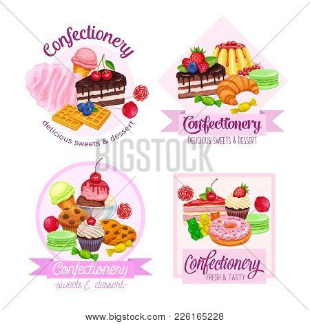 Banner Or Label With Confectionery And Sweets Icons. Dessert, Lollipop, Ice Cream With Candied, Maca