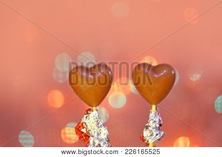 Chocolate Heart Shaped Candies On Sticks