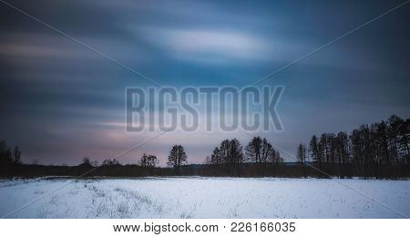 Winter Landscape Photographed With Long Exposure. Natural Wild Landscape.
