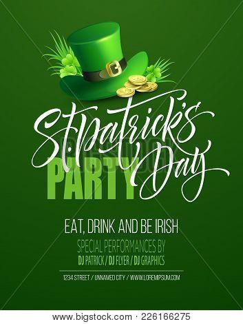 Saint Patricks Day Poster Design Background. Calligraphic Lettering Inscription Happy St Patricks Da