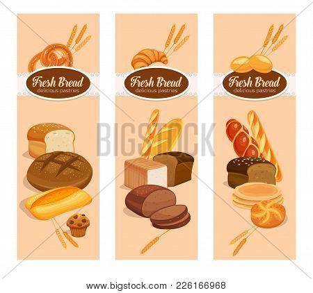 Vector Banners Bread Products . Rye Bread And Pretzel, Muffin, Pita, Ciabatta And Croissant, Wheat A