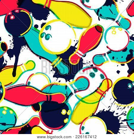 Vector Bowling Seamless Pattern. Bowling Ball And Pins On Watercolor Background. Design For Fashion