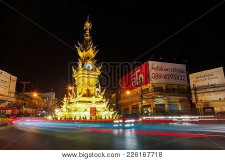 Chiang Rai, Thailand - December 23 2017 : Nightscape Of Golden Clock Tower , Traditional Thai Style