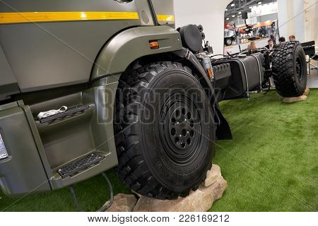 Moscow, Sep, 5, 2017: Powerful Green Kamaz Heavy Mud Truck Exhibit On Commercial Transport Exhibitio