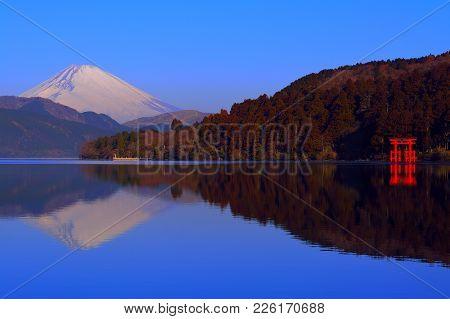 Mt. Fuji And The Torii Of Peace From Lake Ashi Hakone Japan 02/09/2018