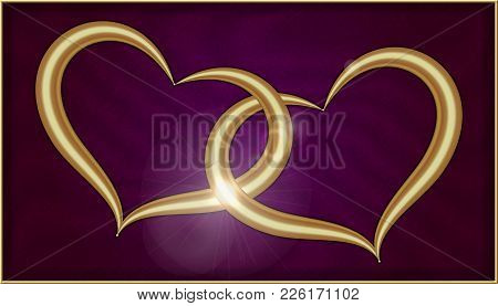 Two Golden Hearts On Purple Velvet Into A Box With Gold Frame