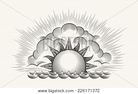 Sunrise Engraving Illustration. Vintage Engraved Sky Vector With Waves Texture And Rising Sun Etchin