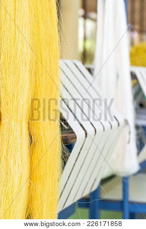 Hand Made Silk Process In Thailand ,the Process Of Silk Weaving In The Production Of Thai Silk